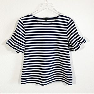 J. Crew striped navy short sleeve top